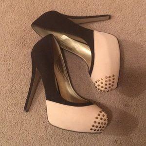 Cream Brown suede heels